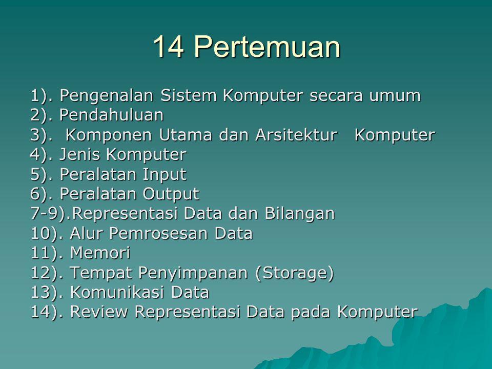 14 Pertemuan 1).Pengenalan Sistem Komputer secara umum 2).