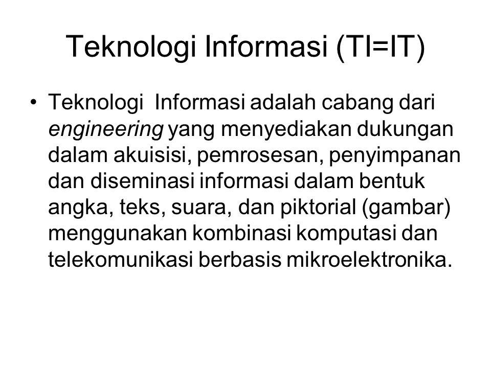 Teknologi Informasi (TI=IT) Teknologi Informasi adalah cabang dari engineering yang menyediakan dukungan dalam akuisisi, pemrosesan, penyimpanan dan diseminasi informasi dalam bentuk angka, teks, suara, dan piktorial (gambar) menggunakan kombinasi komputasi dan telekomunikasi berbasis mikroelektronika.