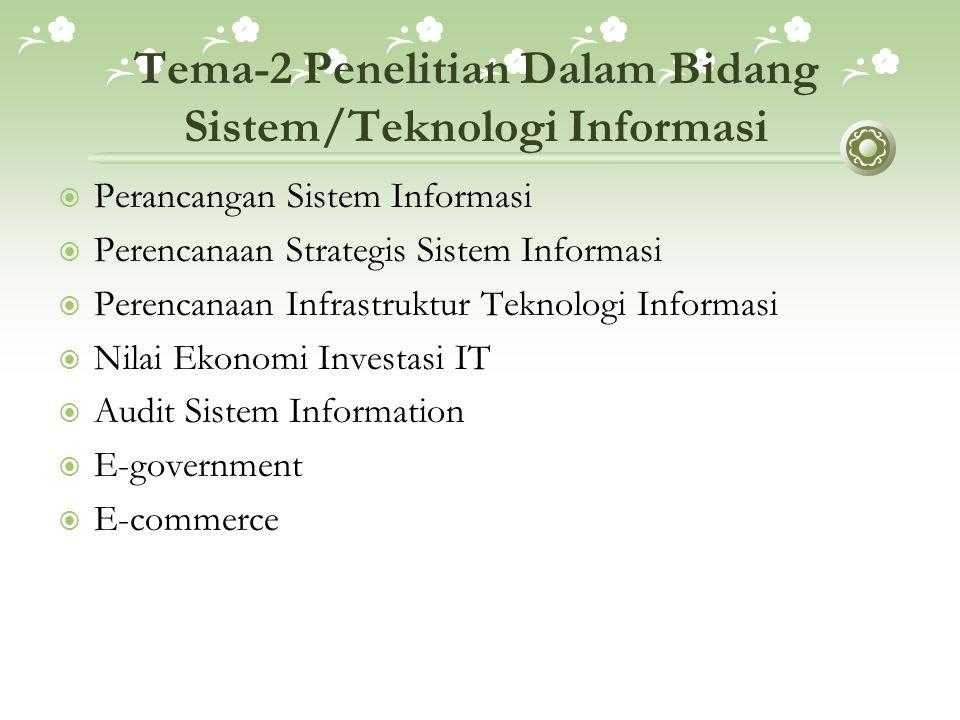 Tema-2 Penelitian Dalam Bidang Sistem/Teknologi Informasi  Perancangan Sistem Informasi  Perencanaan Strategis Sistem Informasi  Perencanaan Infras