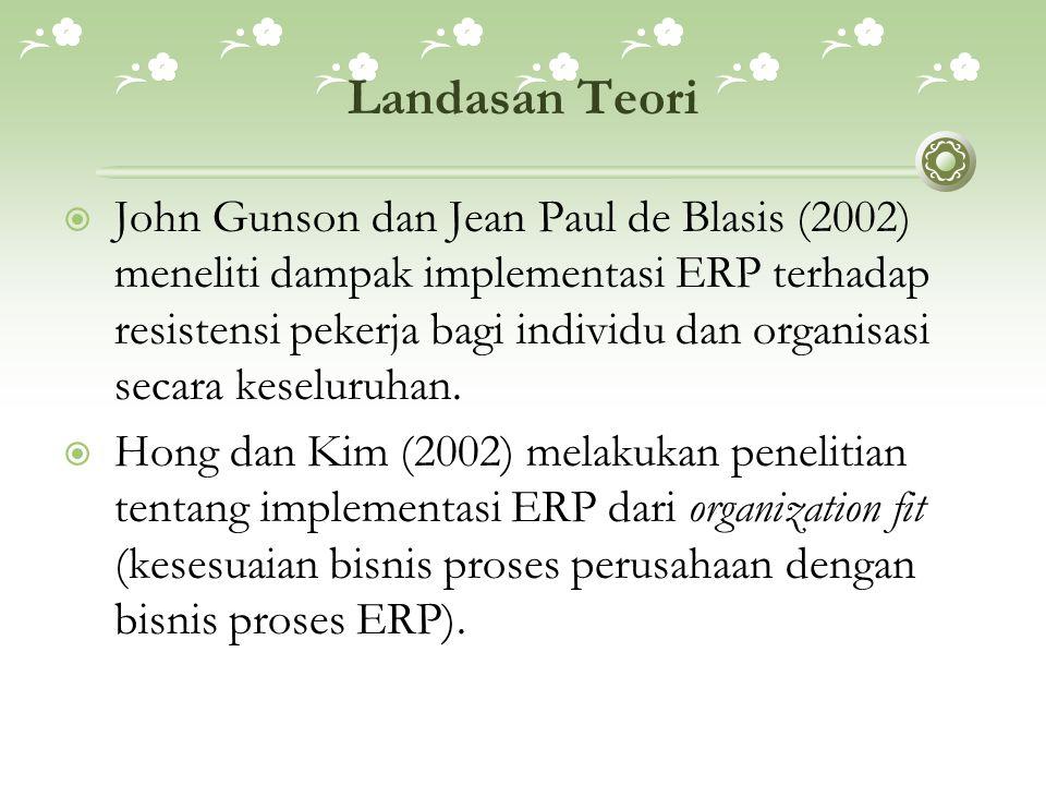 Landasan Teori  John Gunson dan Jean Paul de Blasis (2002) meneliti dampak implementasi ERP terhadap resistensi pekerja bagi individu dan organisasi