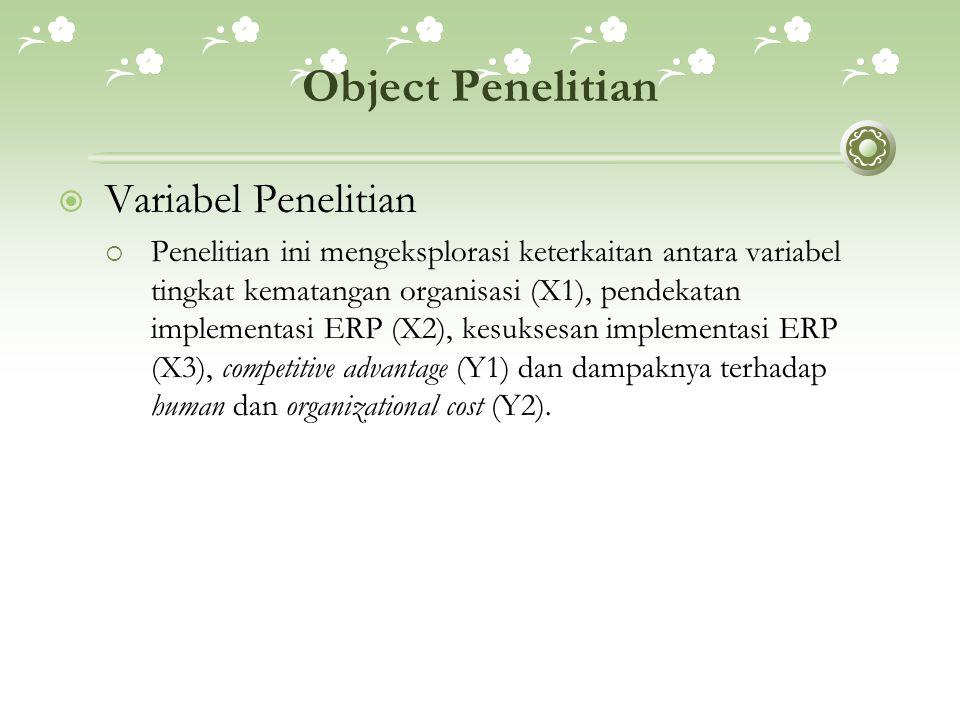 Sampel Penelitian  Sampel Penelitian  Sampel target penelitian ini adalah perusahaan-perusahaan yang sudah mengimplementasikan ERP, seperti: Pertamina, Telkom, TEAC Indonesia, ECCO, Astra International, dan KTB (Krama Yudha Tiga Berlian).
