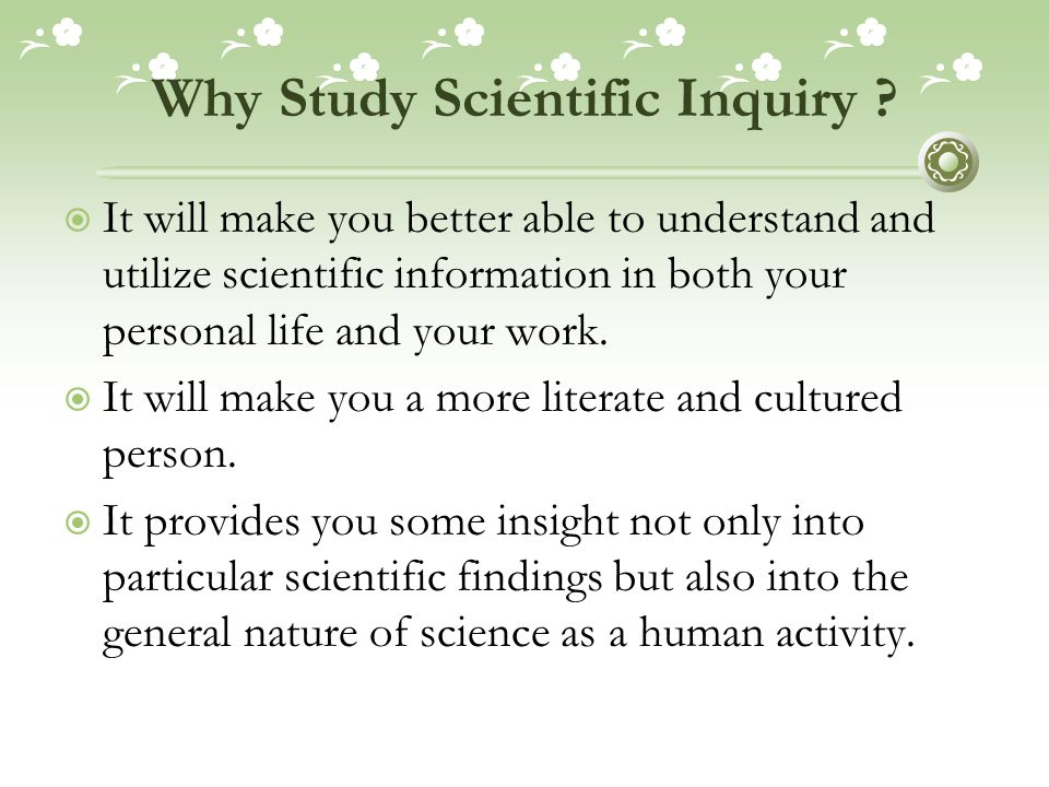 Why Study Scientific Inquiry .