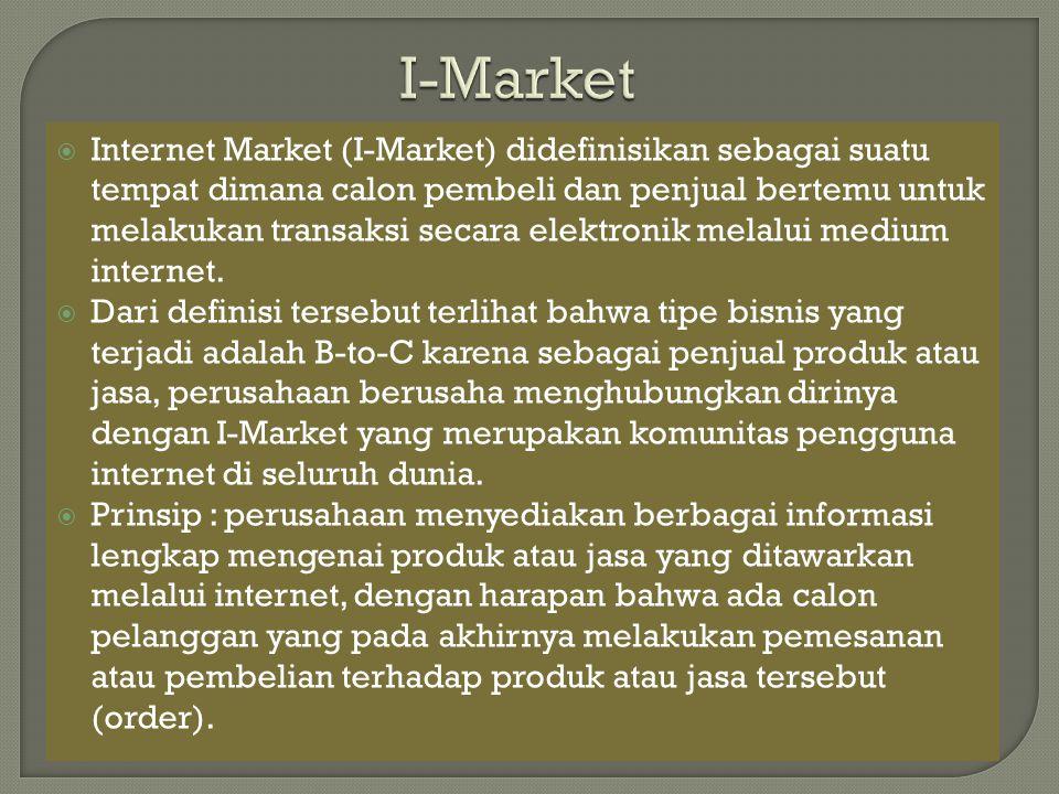 Internet Market (I-Market) didefinisikan sebagai suatu tempat dimana calon pembeli dan penjual bertemu untuk melakukan transaksi secara elektronik m