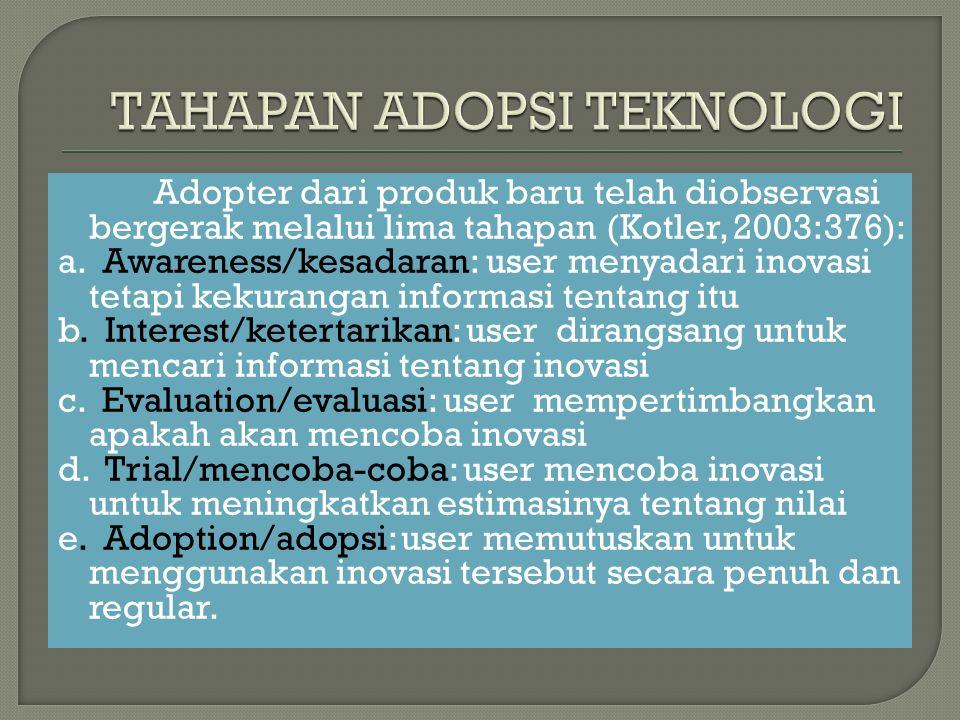 Adopter dari produk baru telah diobservasi bergerak melalui lima tahapan (Kotler, 2003:376): a. Awareness/kesadaran: user menyadari inovasi tetapi kek