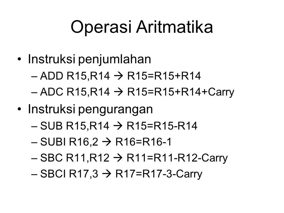 Operasi Aritmatika Instruksi penjumlahan –ADD R15,R14  R15=R15+R14 –ADC R15,R14  R15=R15+R14+Carry Instruksi pengurangan –SUB R15,R14  R15=R15-R14