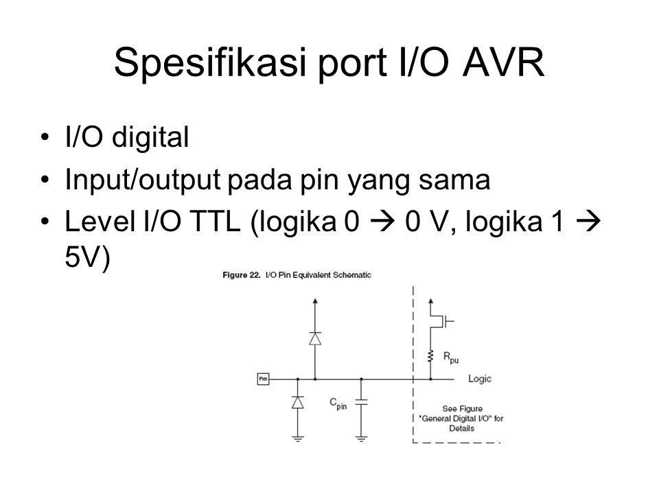 Instruksi SBIC,SBIS Karena instruksi sbg input, DDR harus diset 0 pada bit-bit yg digunakan CBI DDRD,7; setting portd bit 7 sbg input SBI PORTD,7; enable pull up SBIC PIND,7; baca portd bit 7 CLR R16;instruksi sembarang LDI R16,0xAA; jika portd bit 7 logika 0,lompat ke sini