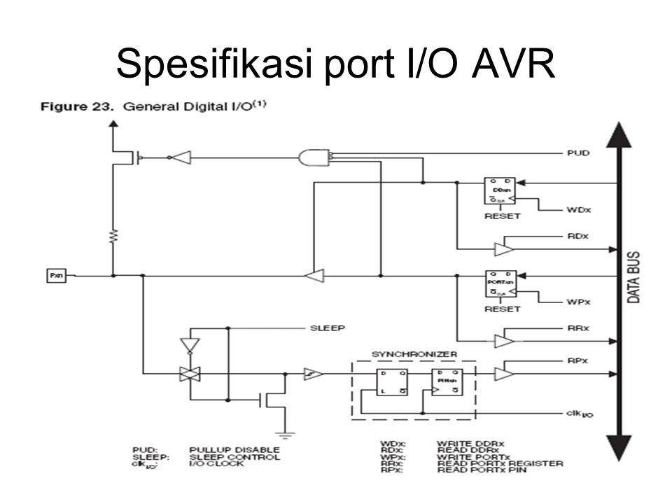 Diakses menggunakan 3 register : –DDRx –PORTx –PINx DDRx digunakan untuk menentukan arah I/O PORTx digunakan untuk meg-outputkan nilai ke pin IC PINx digunakan sebagai register untuk menampung nilai yang diinputkan pada pin IC