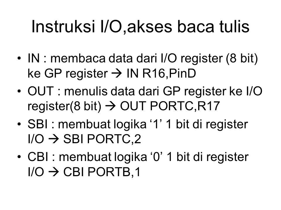 Instruksi I/O,lompatan bersyarat SBIC : skip if bit I/O is clear  men'skip' instruksi di bawahnya jika suatu bit I/O dalam logika '0' SBIS : skip if bit I/O is set  menskip instruksi di bawahnya jika suatu bit I/O dalam keadaan logika '1' Contoh : SBIC PIND,1