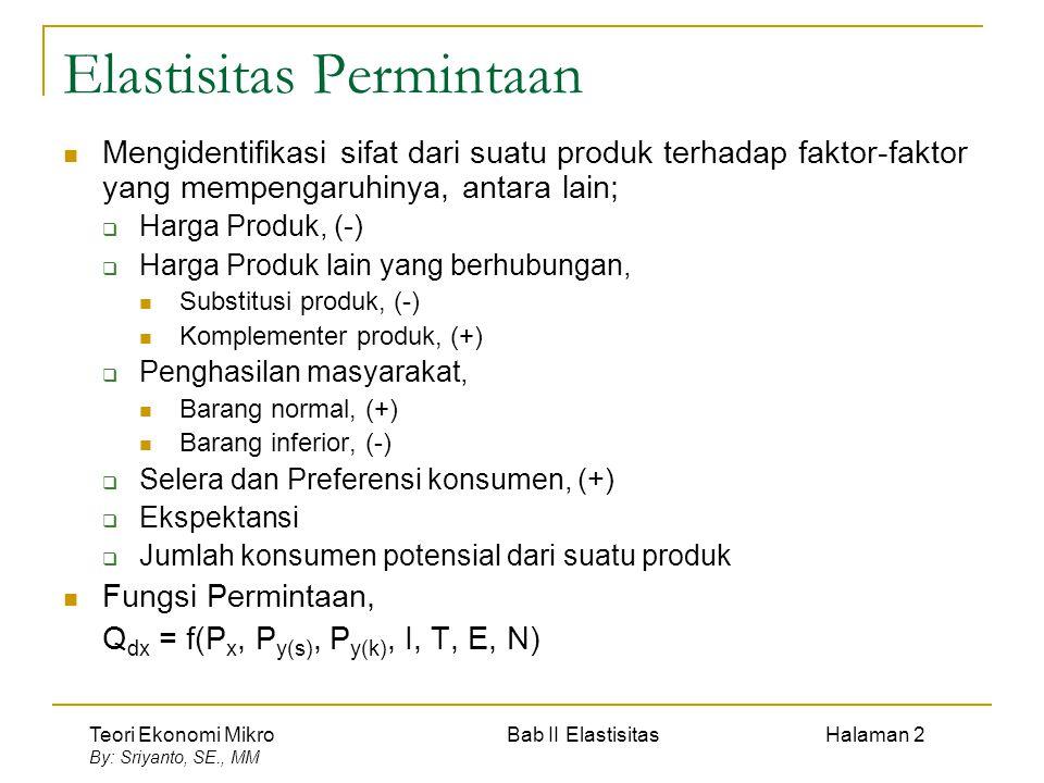 Teori Ekonomi Mikro Bab II Elastisitas Halaman 3 By: Sriyanto, SE., MM Koefisien Elastisitas Elastisitas Titik (point elasticity) titik A B; B A Secara matematis e d = Elastisitas permintaan ∆Q =Perubahan quantitas ∆P = Perubahan harga P Q A B 0 Elastisitas Busur (Arc elasticity) busur CD Secara matematis e d = Elastisitas permintaan ∆Q =Perubahan quantitas ∆P = Perubahan harga P Q 0 C D P1P1 P2P2 Q1Q1 Q2Q2 P1P1 P2P2 Q1Q1 Q2Q2