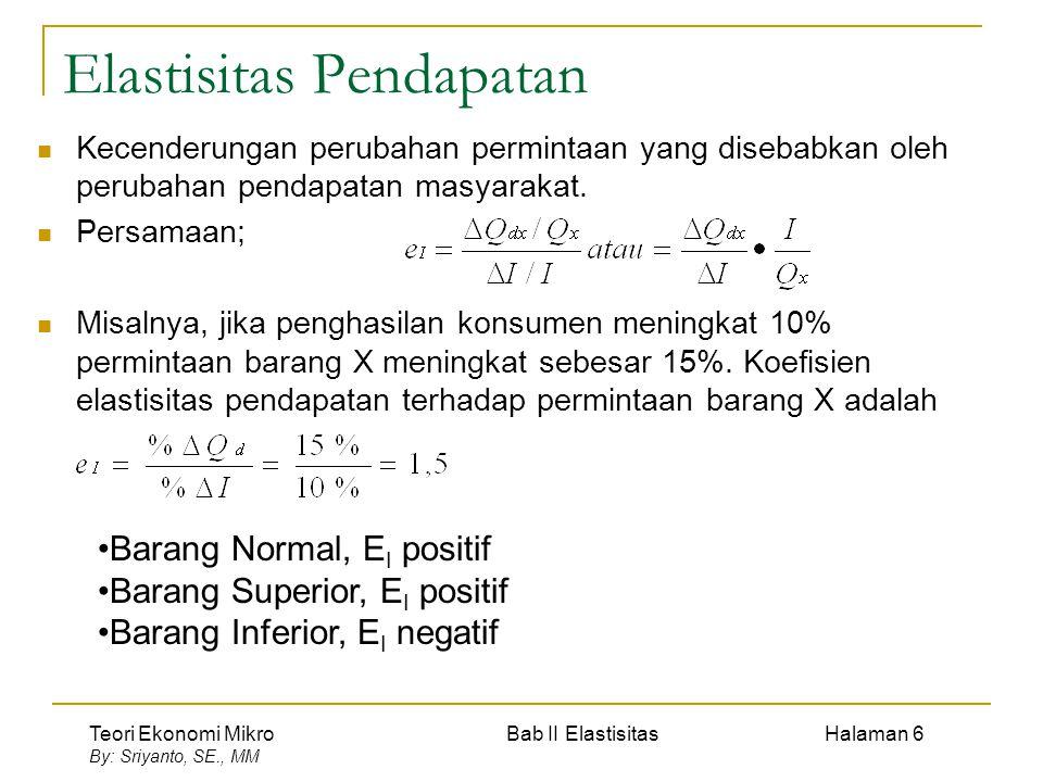 Teori Ekonomi Mikro Bab II Elastisitas Halaman 7 By: Sriyanto, SE., MM Elastisitas Silang Kecenderungan perubahan permintaan suatu barang disebabkan terjadi perubahan harga barang lain.