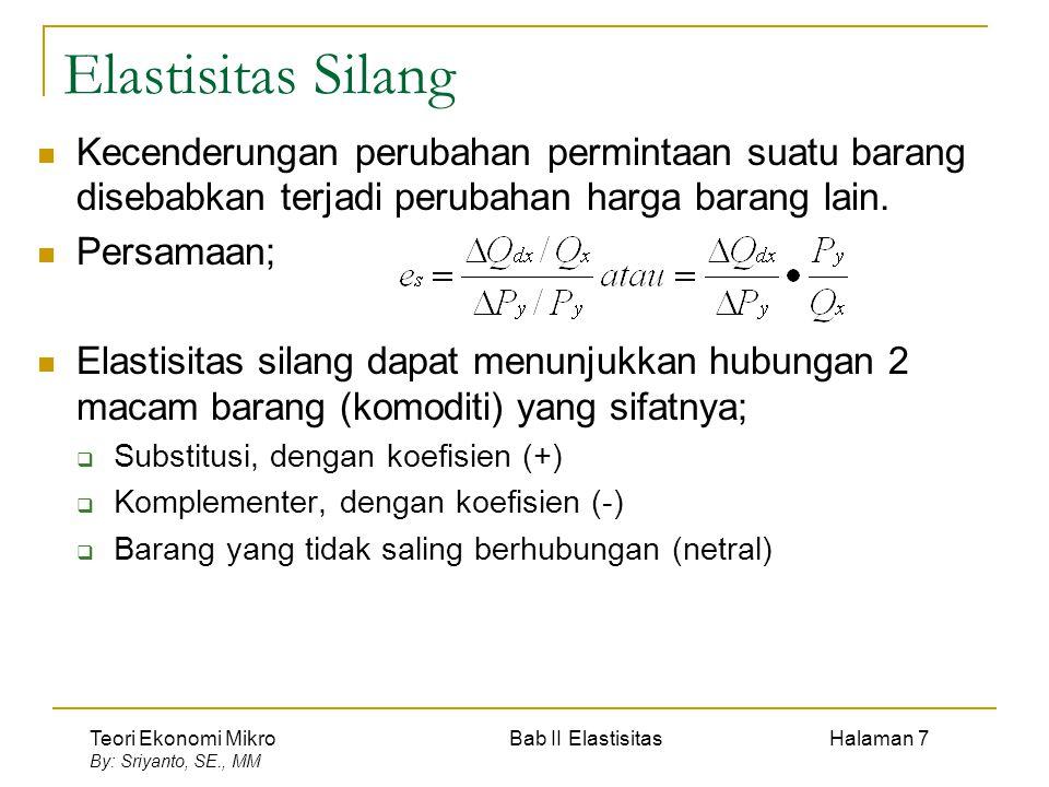 Teori Ekonomi Mikro Bab II Elastisitas Halaman 7 By: Sriyanto, SE., MM Elastisitas Silang Kecenderungan perubahan permintaan suatu barang disebabkan t