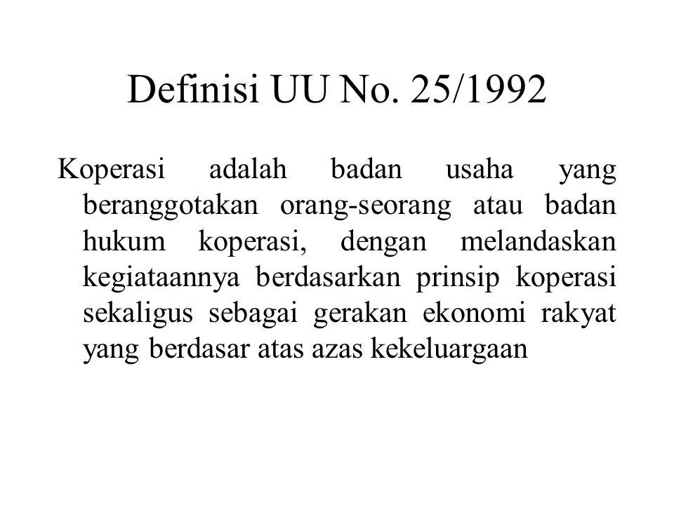 Definisi UU No. 25/1992 Koperasi adalah badan usaha yang beranggotakan orang-seorang atau badan hukum koperasi, dengan melandaskan kegiataannya berdas