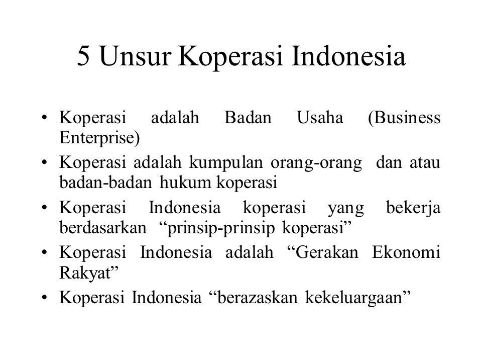 5 Unsur Koperasi Indonesia Koperasi adalah Badan Usaha (Business Enterprise) Koperasi adalah kumpulan orang-orang dan atau badan-badan hukum koperasi