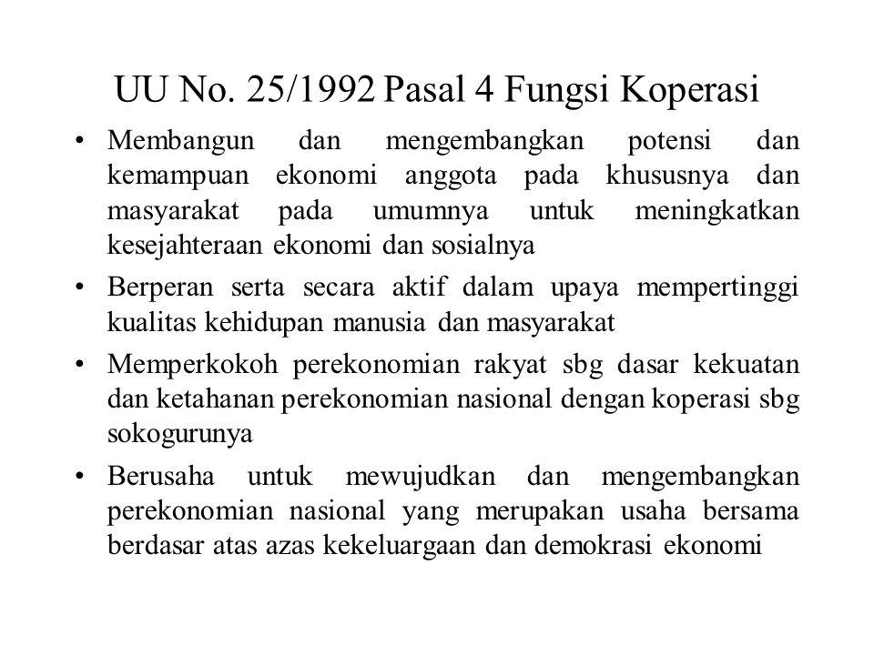 UU No. 25/1992 Pasal 4 Fungsi Koperasi Membangun dan mengembangkan potensi dan kemampuan ekonomi anggota pada khususnya dan masyarakat pada umumnya un