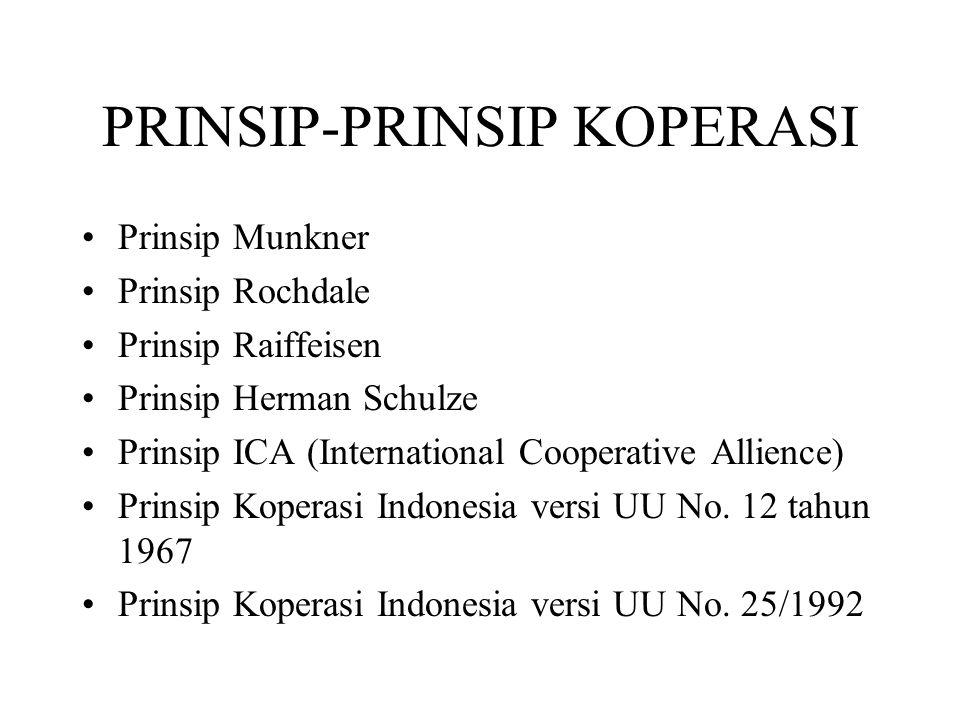 PRINSIP-PRINSIP KOPERASI Prinsip Munkner Prinsip Rochdale Prinsip Raiffeisen Prinsip Herman Schulze Prinsip ICA (International Cooperative Allience) P