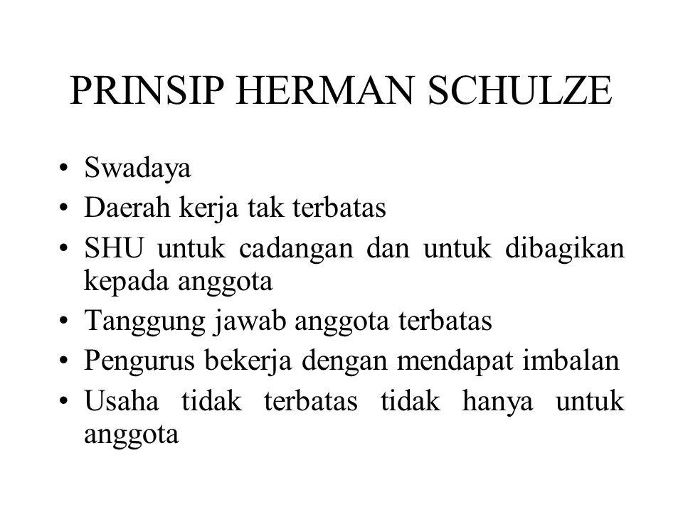 PRINSIP HERMAN SCHULZE Swadaya Daerah kerja tak terbatas SHU untuk cadangan dan untuk dibagikan kepada anggota Tanggung jawab anggota terbatas Penguru