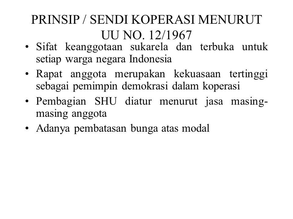 PRINSIP / SENDI KOPERASI MENURUT UU NO. 12/1967 Sifat keanggotaan sukarela dan terbuka untuk setiap warga negara Indonesia Rapat anggota merupakan kek