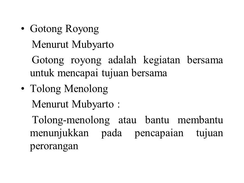 Gotong Royong Menurut Mubyarto Gotong royong adalah kegiatan bersama untuk mencapai tujuan bersama Tolong Menolong Menurut Mubyarto : Tolong-menolong