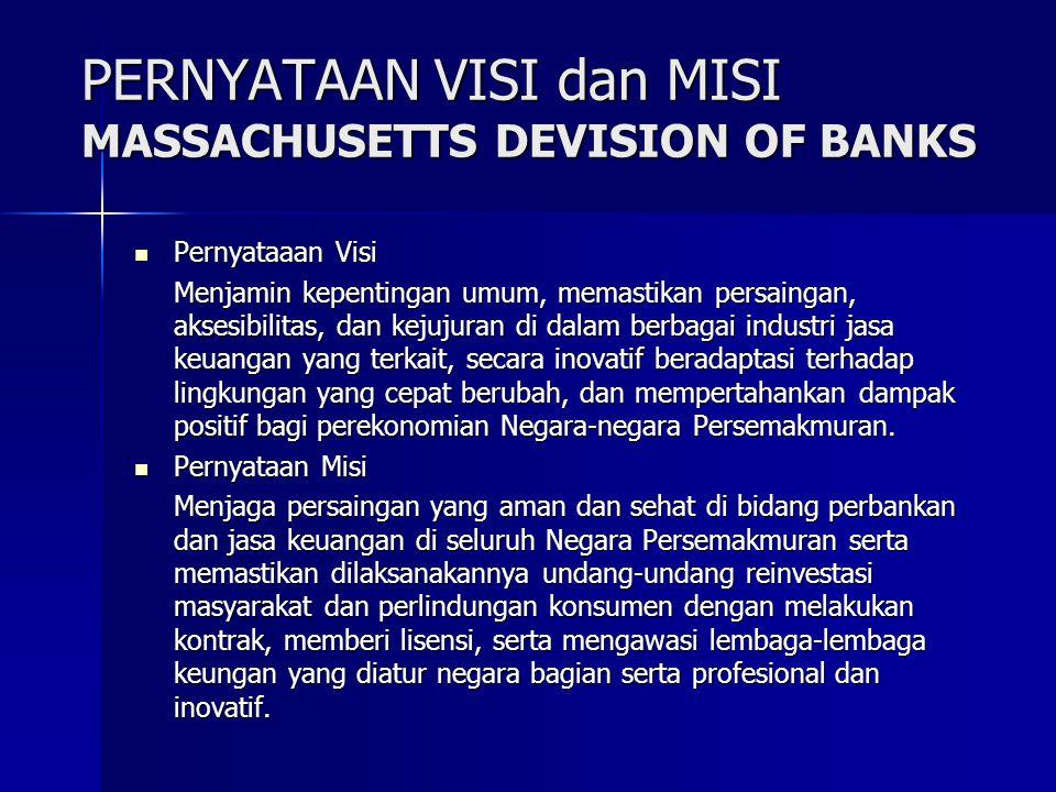 PERNYATAAN VISI dan MISI MASSACHUSETTS DEVISION OF BANKS Pernyataaan Visi Pernyataaan Visi Menjamin kepentingan umum, memastikan persaingan, aksesibil