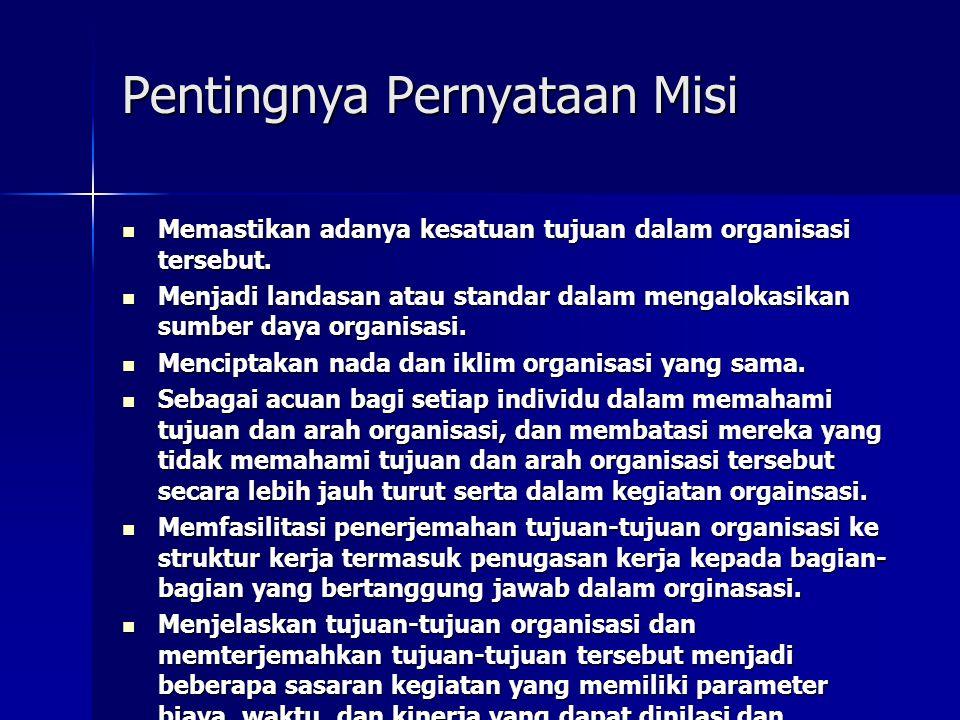 Pentingnya Pernyataan Misi Memastikan adanya kesatuan tujuan dalam organisasi tersebut. Memastikan adanya kesatuan tujuan dalam organisasi tersebut. M