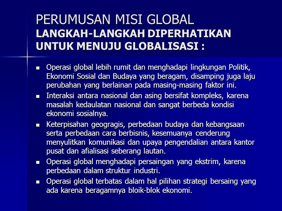 PERUMUSAN MISI GLOBAL LANGKAH-LANGKAH DIPERHATIKAN UNTUK MENUJU GLOBALISASI : Operasi global lebih rumit dan menghadapi lingkungan Politik, Ekonomi So