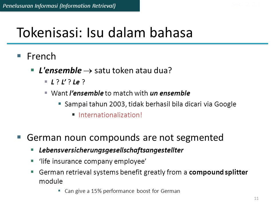 Penelusuran Informasi (Information Retrieval) Tokenisasi: Isu dalam bahasa  French  L'ensemble  satu token atau dua?  L ? L' ? Le ?  Want l'ensem