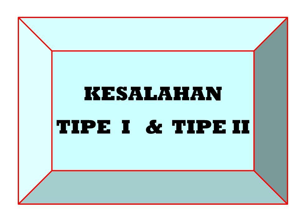 DATA DAN INFORMASI KESALAHAN TIPE I & TIPE II