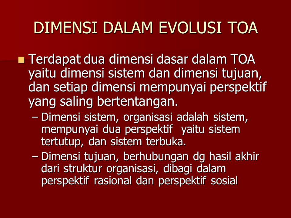 DIMENSI DALAM EVOLUSI TOA Terdapat dua dimensi dasar dalam TOA yaitu dimensi sistem dan dimensi tujuan, dan setiap dimensi mempunyai perspektif yang saling bertentangan.