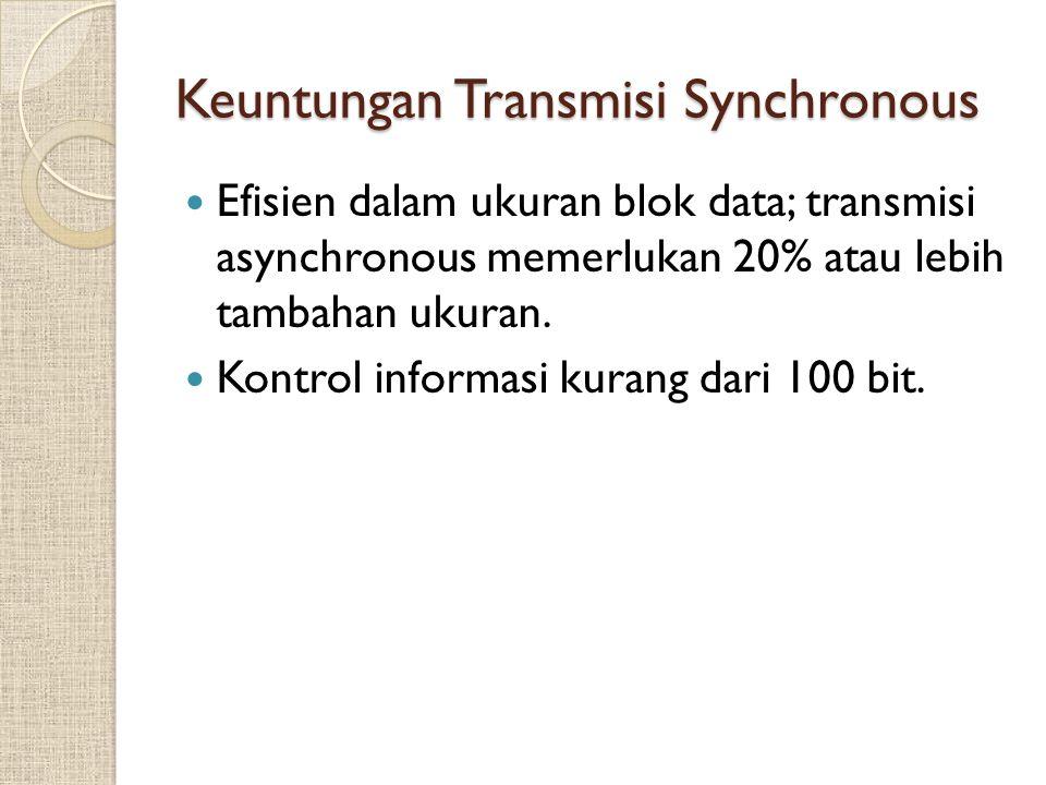 Keuntungan Transmisi Synchronous Efisien dalam ukuran blok data; transmisi asynchronous memerlukan 20% atau lebih tambahan ukuran. Kontrol informasi k