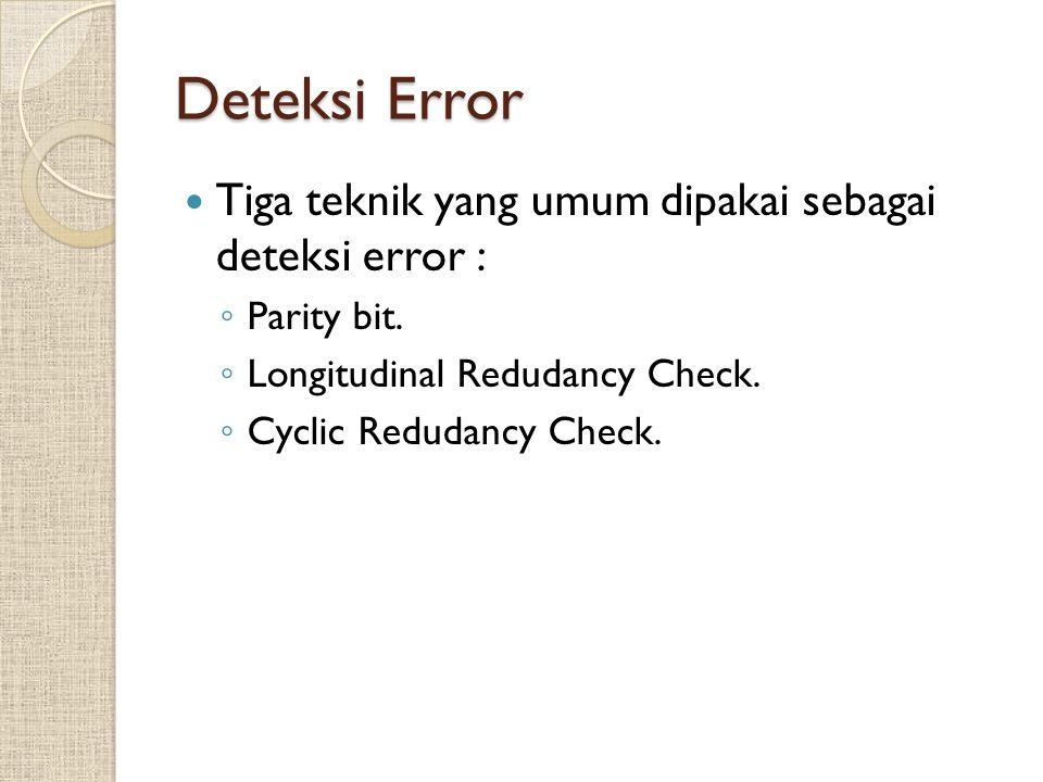 Deteksi Error Tiga teknik yang umum dipakai sebagai deteksi error : ◦ Parity bit. ◦ Longitudinal Redudancy Check. ◦ Cyclic Redudancy Check.
