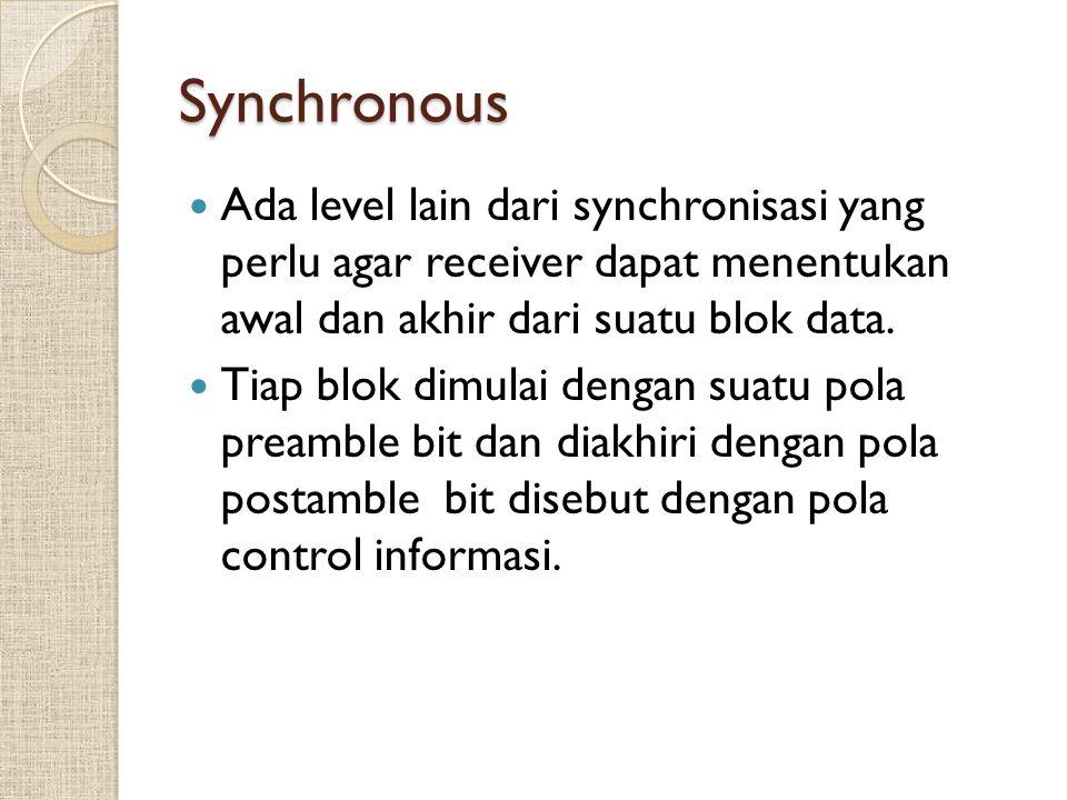 Synchronous Ada level lain dari synchronisasi yang perlu agar receiver dapat menentukan awal dan akhir dari suatu blok data. Tiap blok dimulai dengan