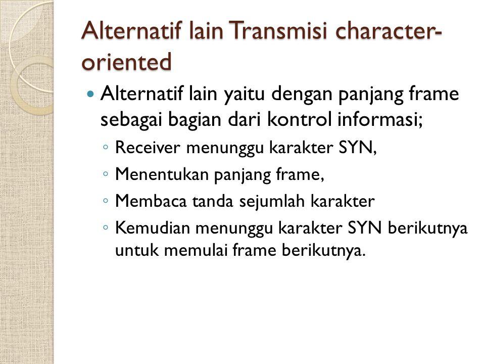 Alternatif lain Transmisi character- oriented Alternatif lain yaitu dengan panjang frame sebagai bagian dari kontrol informasi; ◦ Receiver menunggu ka