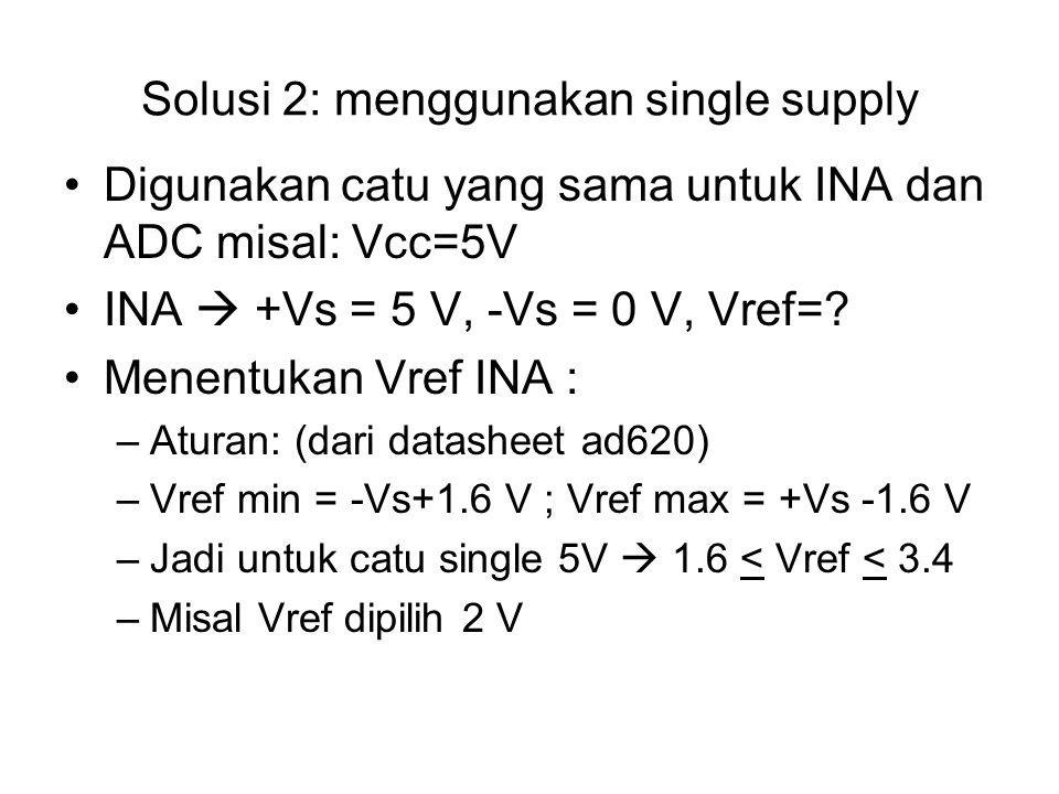 Solusi 2: menggunakan single supply Digunakan catu yang sama untuk INA dan ADC misal: Vcc=5V INA  +Vs = 5 V, -Vs = 0 V, Vref=.