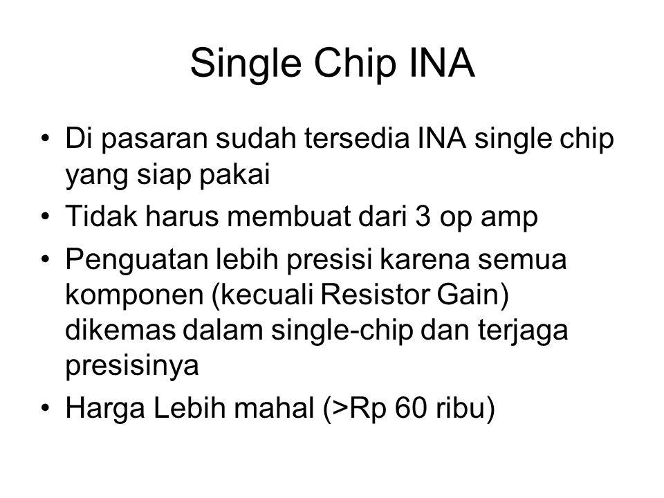 Single Chip INA Di pasaran sudah tersedia INA single chip yang siap pakai Tidak harus membuat dari 3 op amp Penguatan lebih presisi karena semua komponen (kecuali Resistor Gain) dikemas dalam single-chip dan terjaga presisinya Harga Lebih mahal (>Rp 60 ribu)