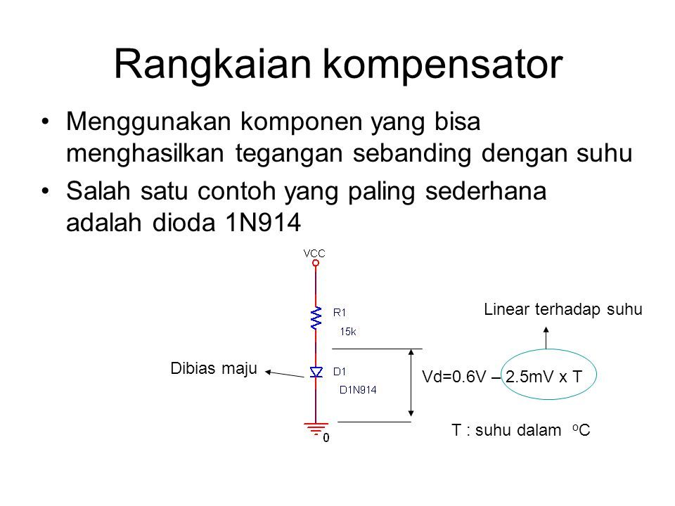 Rangkaian kompensator Menggunakan komponen yang bisa menghasilkan tegangan sebanding dengan suhu Salah satu contoh yang paling sederhana adalah dioda 1N914 Dibias maju Vd=0.6V – 2.5mV x T Linear terhadap suhu T : suhu dalam o C