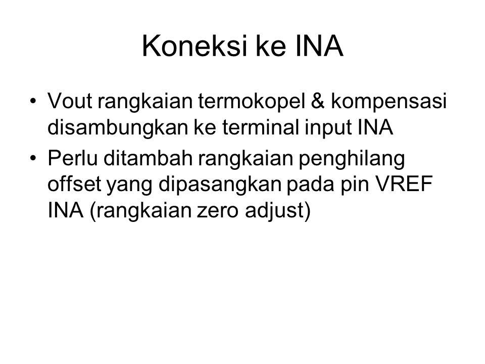 Koneksi ke INA Vout rangkaian termokopel & kompensasi disambungkan ke terminal input INA Perlu ditambah rangkaian penghilang offset yang dipasangkan pada pin VREF INA (rangkaian zero adjust)