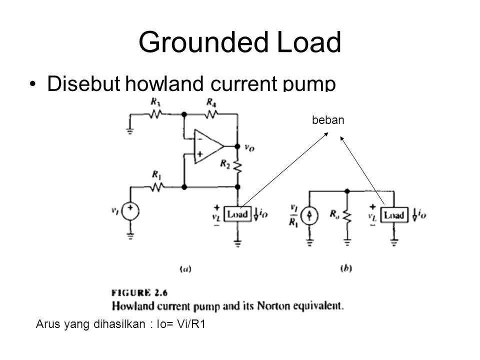 Grounded Load Disebut howland current pump Arus yang dihasilkan : Io= Vi/R1 beban