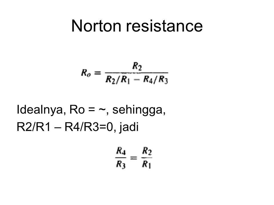 Norton resistance Idealnya, Ro = ~, sehingga, R2/R1 – R4/R3=0, jadi
