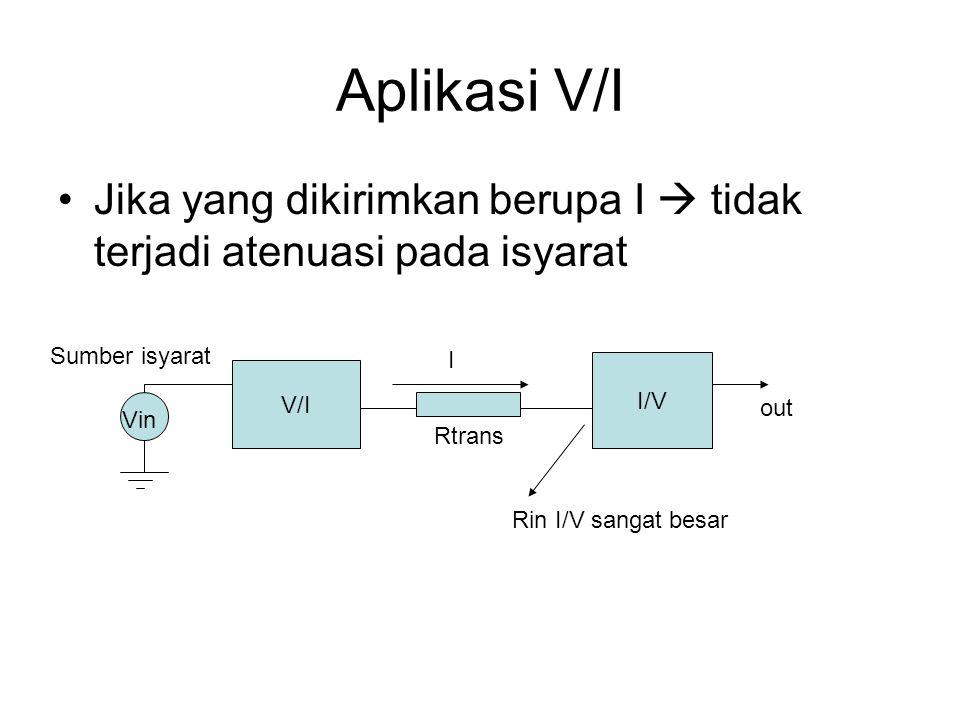 Aplikasi V/I Jika yang dikirimkan berupa I  tidak terjadi atenuasi pada isyarat V/I I/V I Sumber isyarat Vin out Rtrans Rin I/V sangat besar