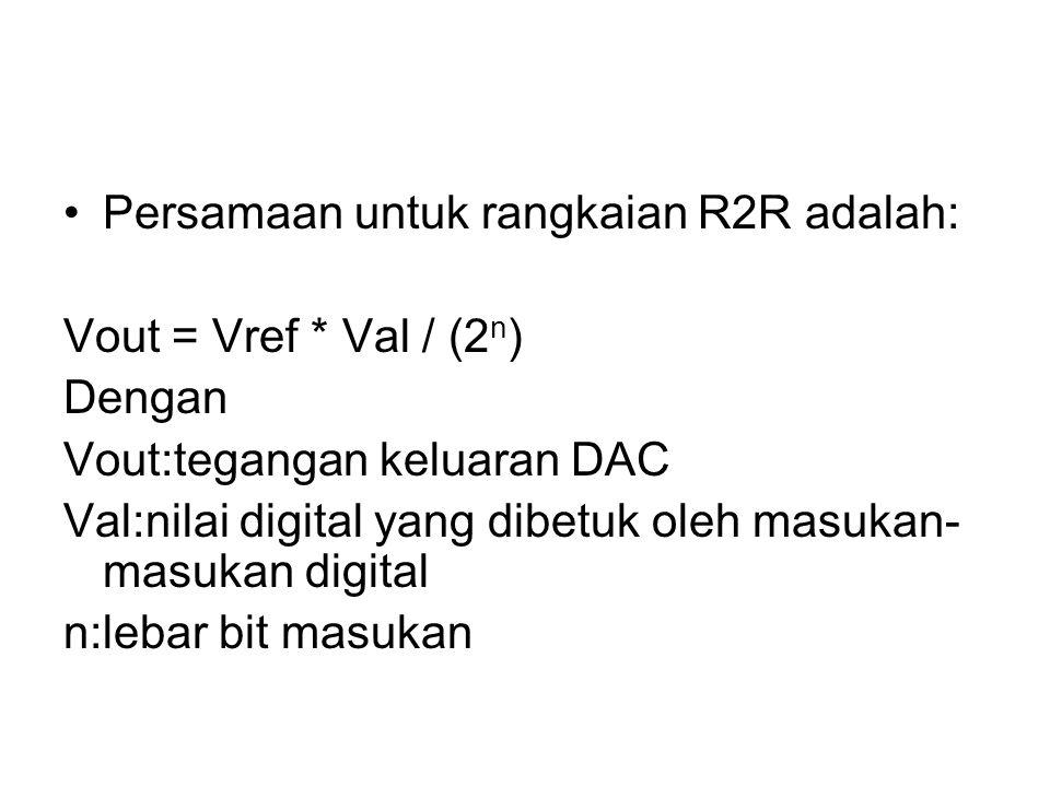 Persamaan untuk rangkaian R2R adalah: Vout = Vref * Val / (2 n ) Dengan Vout:tegangan keluaran DAC Val:nilai digital yang dibetuk oleh masukan- masuka