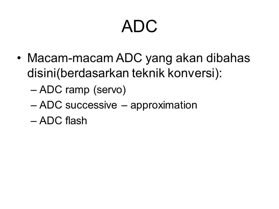 ADC Macam-macam ADC yang akan dibahas disini(berdasarkan teknik konversi): –ADC ramp (servo) –ADC successive – approximation –ADC flash