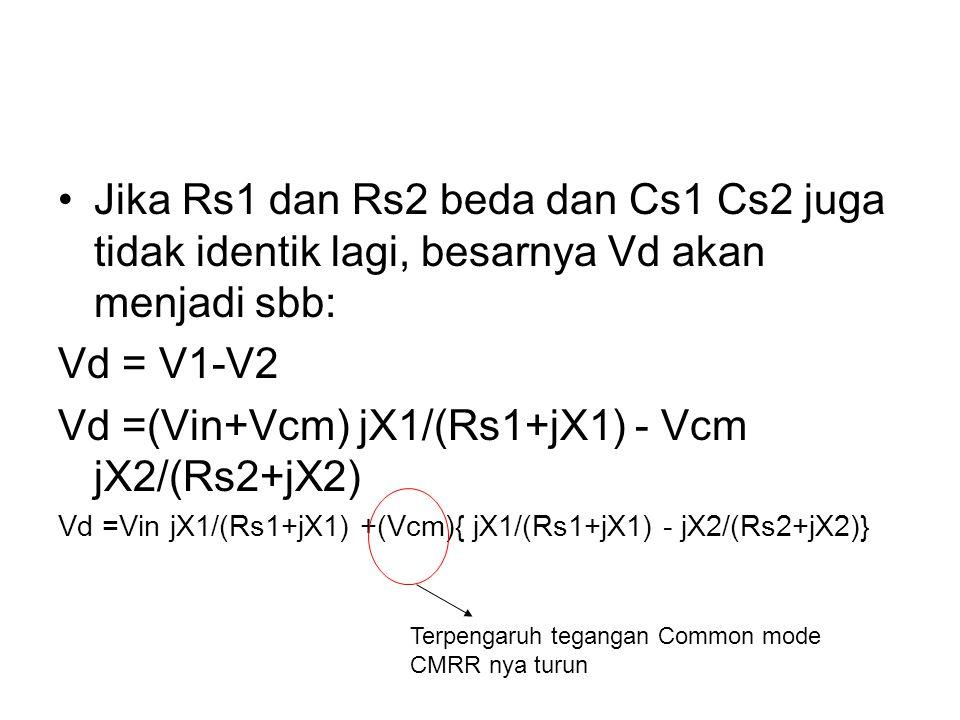 Jika Rs1 dan Rs2 beda dan Cs1 Cs2 juga tidak identik lagi, besarnya Vd akan menjadi sbb: Vd = V1-V2 Vd =(Vin+Vcm) jX1/(Rs1+jX1) - Vcm jX2/(Rs2+jX2) Vd