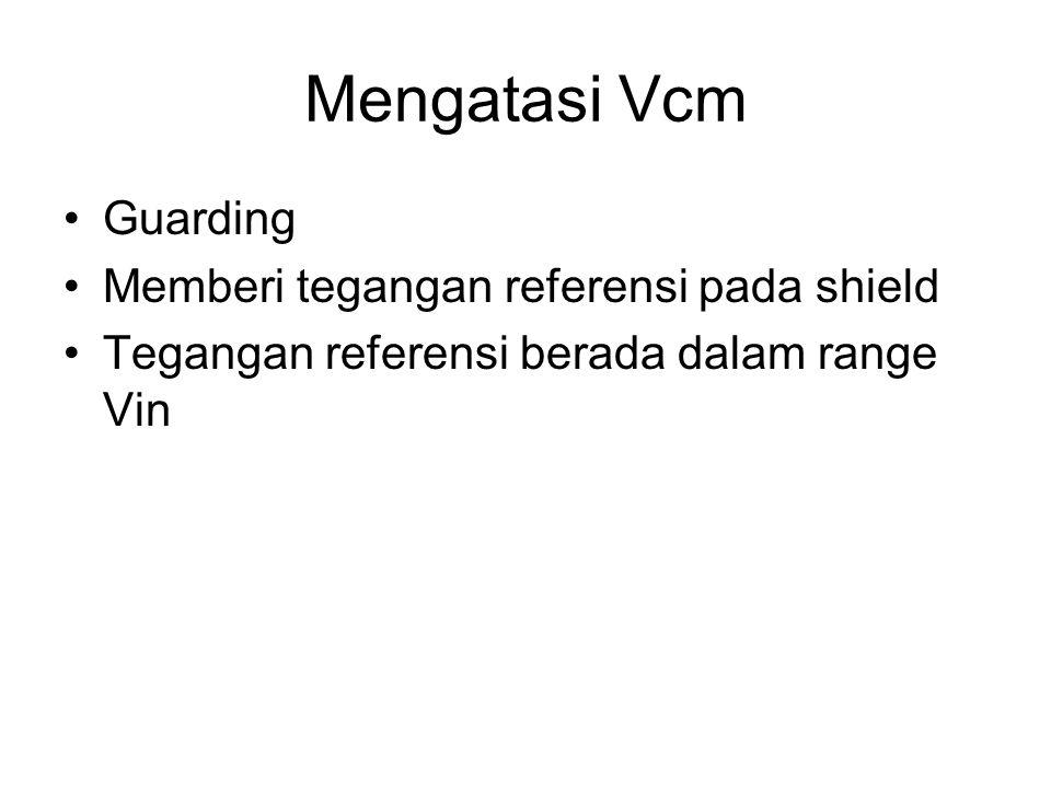 Mengatasi Vcm Guarding Memberi tegangan referensi pada shield Tegangan referensi berada dalam range Vin