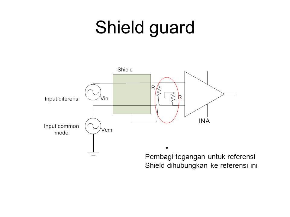 Shield guard Pembagi tegangan untuk referensi Shield dihubungkan ke referensi ini