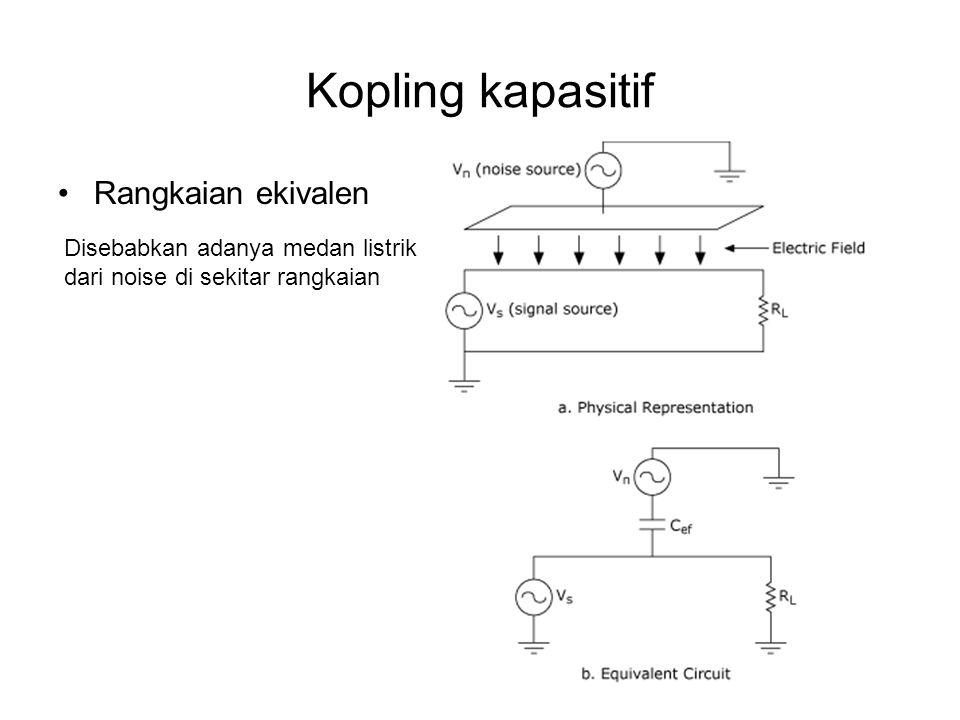 Kopling kapasitif Rangkaian ekivalen Disebabkan adanya medan listrik dari noise di sekitar rangkaian