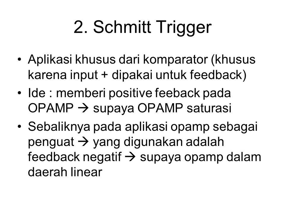 2. Schmitt Trigger Aplikasi khusus dari komparator (khusus karena input + dipakai untuk feedback) Ide : memberi positive feeback pada OPAMP  supaya O