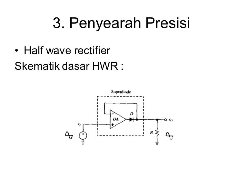 3. Penyearah Presisi Half wave rectifier Skematik dasar HWR :