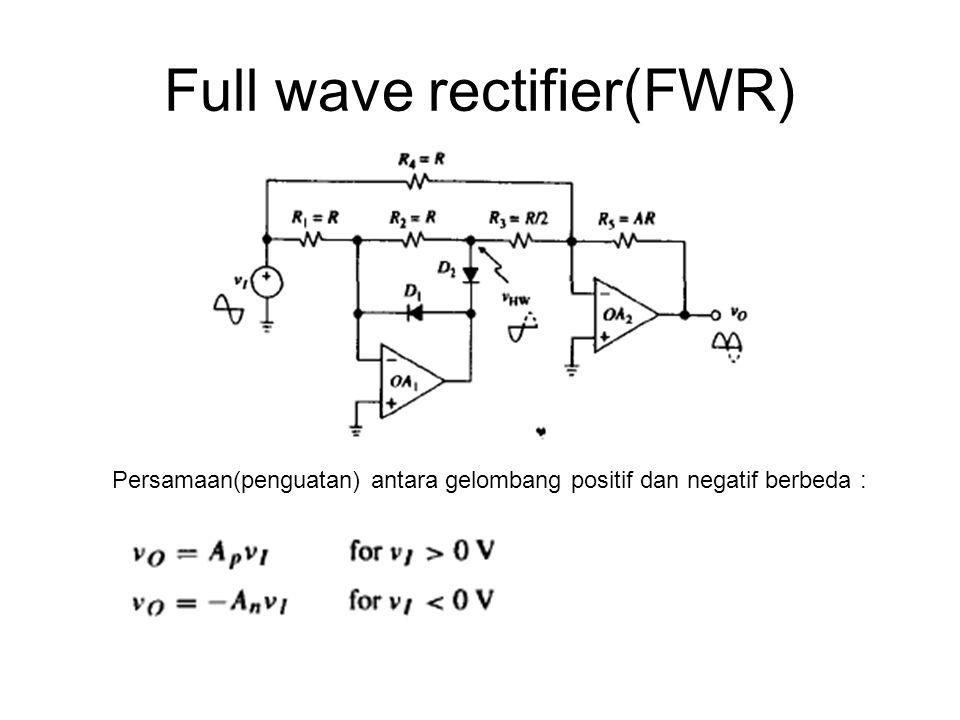 Full wave rectifier(FWR) Persamaan(penguatan) antara gelombang positif dan negatif berbeda :