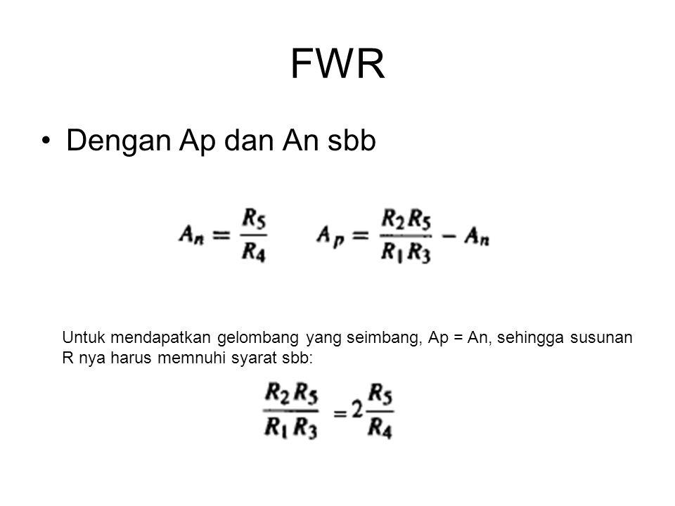 FWR Dengan Ap dan An sbb Untuk mendapatkan gelombang yang seimbang, Ap = An, sehingga susunan R nya harus memnuhi syarat sbb: