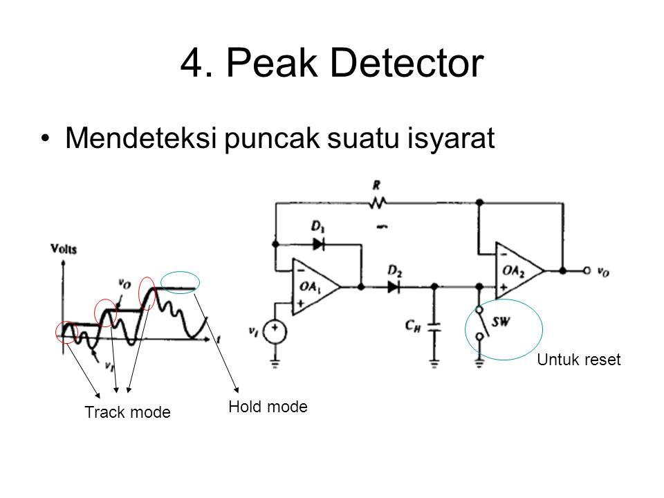 4. Peak Detector Mendeteksi puncak suatu isyarat Track mode Hold mode Untuk reset